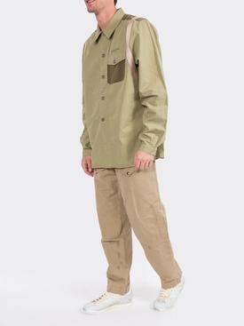 panelled button-up shirt GREEN