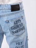 Faith Connexion - Graffiti Print Loose Fit Jeans - Men