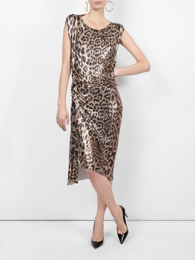 metallic leopard pattern dress