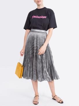 pleated lamé mesh skirt SILVER