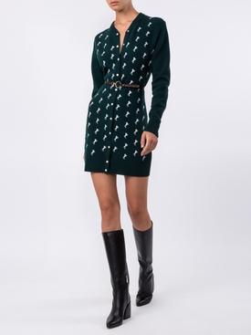 Dark Pine Green Horse Embroidered Cardigan Dress