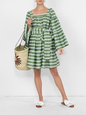Mini Peasant Dress Green and White