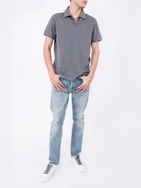 cotton and cashmere logo polo shirt GREY