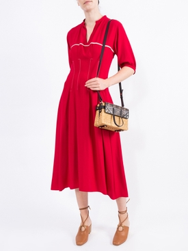 red flared midi dress
