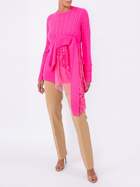 Trine lace-insert asymmetric sweater