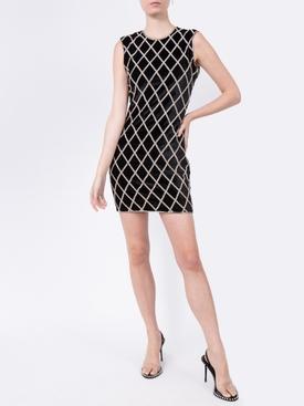 Crystal Embellished Diamond Pattern Mini Dress