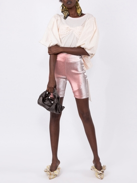 Rose Lamé Biker Shorts