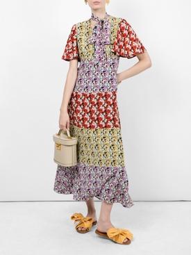 floral Silk tieneck dress