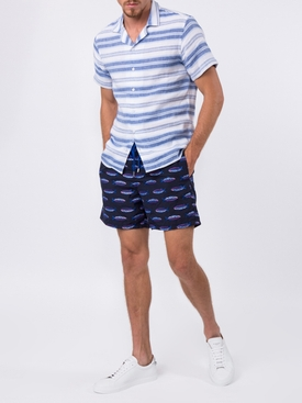 Fish pattern swim shorts BLUE