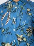 For Restless Sleepers - Tropical Print Drape Tunic Blue - Women