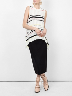 Striped Rib Knit Top WHITE