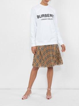 Burberry - Monogram Print Leather Peep-toe Kitten-heel Pumps - Women