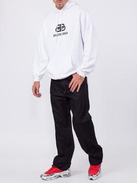 White BB logo hoodie