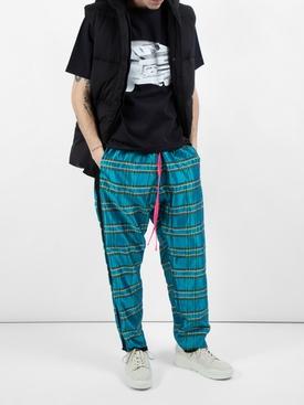 Silk Plaid track pants BLUE