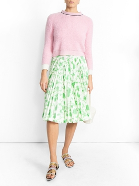 floral print pleated skirt GREEN