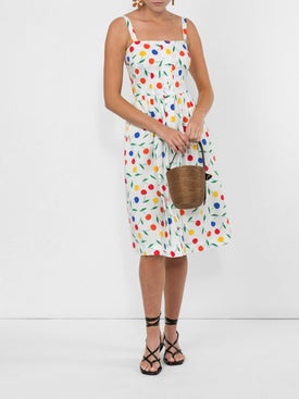 Hvn - Laura Rainbow Print Sleeveless Midi Dress - Mid-length