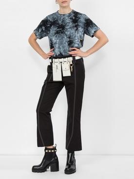 stitch detail kick flared trousers