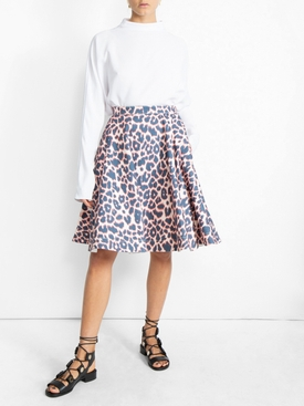 leopard print full skirt MULTICOLOR