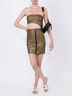 Metallic Zip Mini Skirt