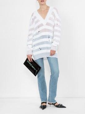 Balmain - Striped V-neck Knitted Jumper - Women