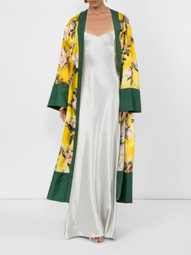 For Restless Sleepers - Floral Print Robe Coat - Sleepwear