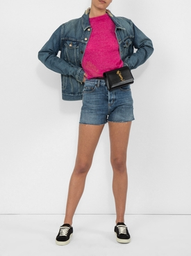 frayed collar denim jacket