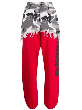 camouflage panel sweat pants RED