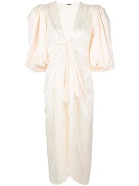 Puff sleeve satin dress