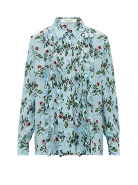 Valentino - Blue Ruffles Floral Blouse - Women