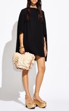 Silk Cady Mini Cape Dress, Black