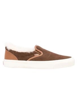 Shearling Trim Brown Classic Slip-on Sneakers