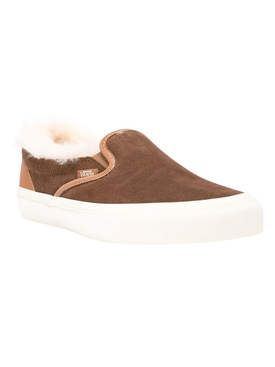 Shearling Trim Brown Classic Slip-on Sneakers