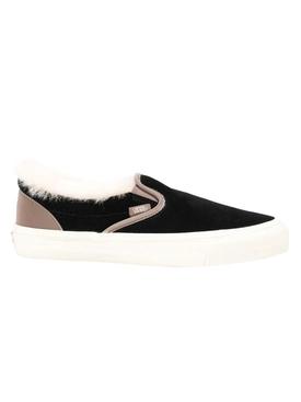 Shearling Trim Black Classic Slip-on Sneakers