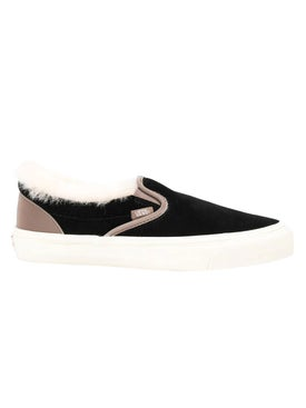 Vans - Shearling Trim Black Classic Slip-on Sneakers - Low Tops