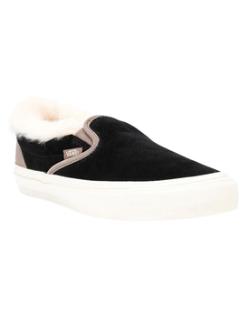 Shearling Trim Black Classic Slip-on Sneakers