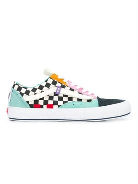 Vans - Color Block And Check Print Ua Old Skool Cap Lx Sneakers - Low Tops