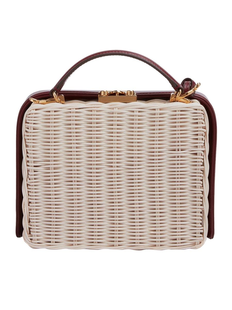 Mark Cross Bags Grace Small Box Bag Raffia Burgundy