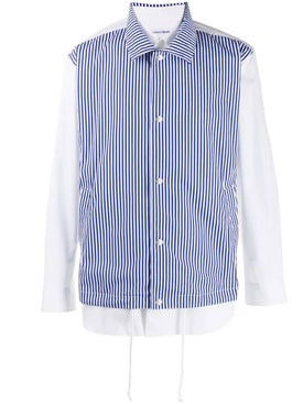 Comme Des Garcons Shirt - Blue And White Contrast Layered Shirt - Men