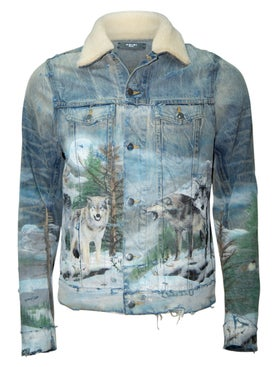 Amiri - Shearling Airbrush Trucker Jacket - Men