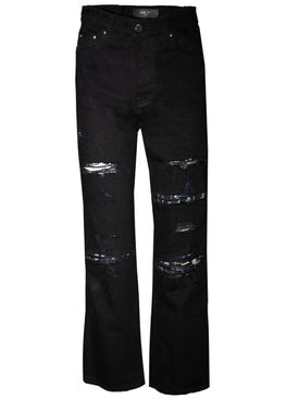 Amiri - Cropped Straight Music Note Patch Jeans - Women
