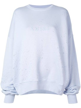 Amiri - Light Blue Oversized Distressed Sweatshirt - Women