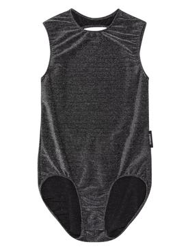 Grey glitter open back bodysuit