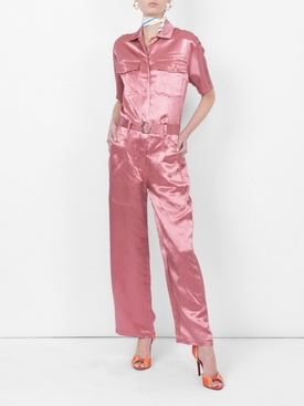 Washed satin button-down jumpsuit
