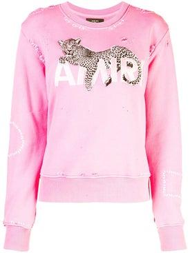 Amiri - Leopard Detail Sweatshirt Pink - Women