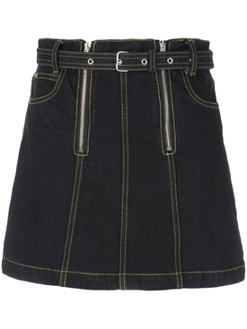 Zip Rigid Denim Skirt