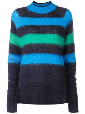Brushed Stripe Wool Mohair Sweater