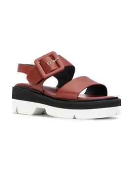 Bela Buckled Sandals Rust Brown