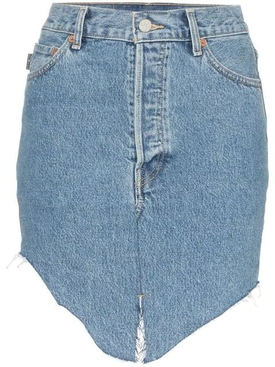 high-waisted asymmetric denim skirt