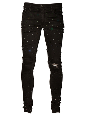 Rainbow crystal skinny denim jean BLACK