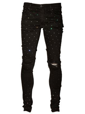 Amiri - Rainbow Crystal Skinny Denim Jean Black - Men